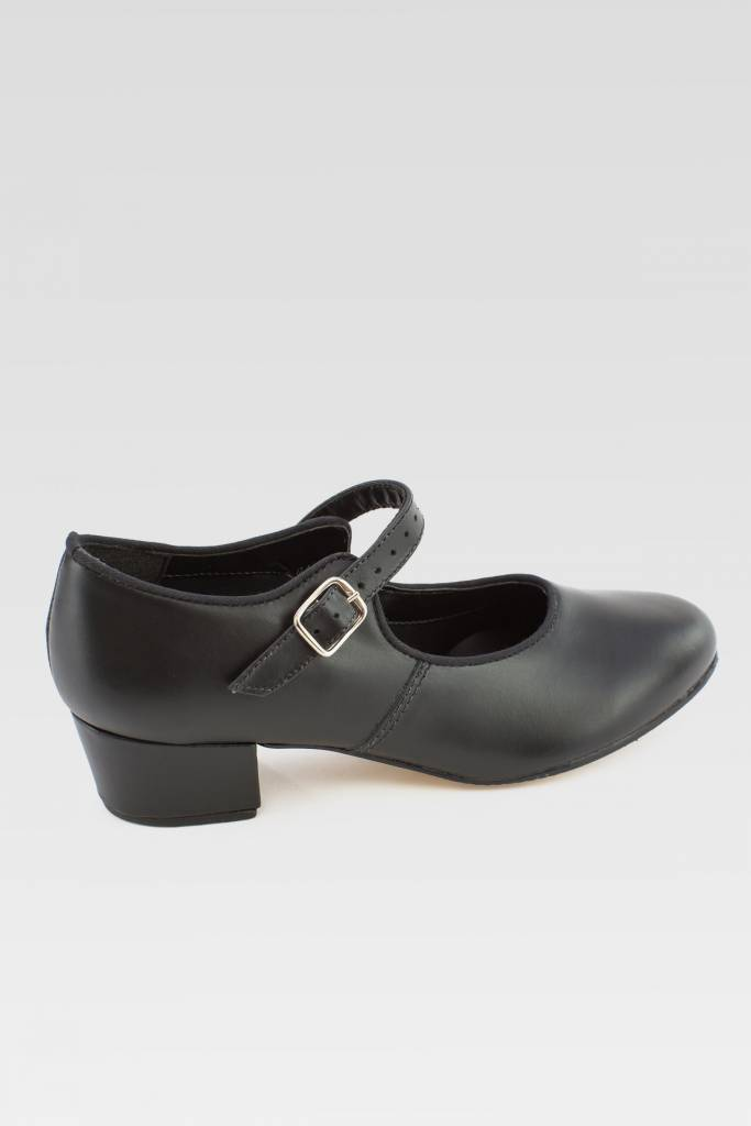 "SoDanca CH01-Character Shoes Cuban heel in Leather 1.25""-BLK"