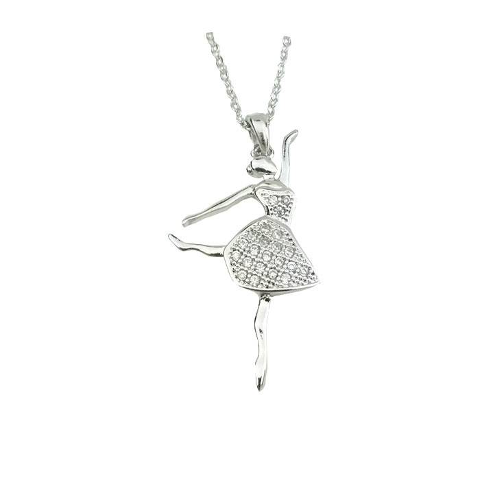 American Dance Supply 561-Ballerina Necklace-SILVER