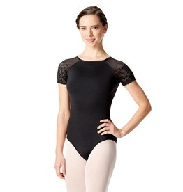 Lulli Dancewear LUF-521-Short Sleeve Leotard With Floral Mesh-BLACK
