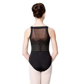 Lulli Dancewear LUF535-Wide Strap Leotard With Floral Mesh-BLACK