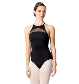 Lulli Dancewear LUF-549-Mesh Insert High Neck Leotard-BLACK
