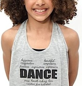 Trendy Trends H3503-Dance Words Draped Back Tank-GREY