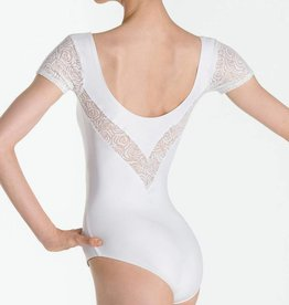 Wear Moi DARLENE-Cap Sleeve Leotard Double-V Shaped Back-BLACK