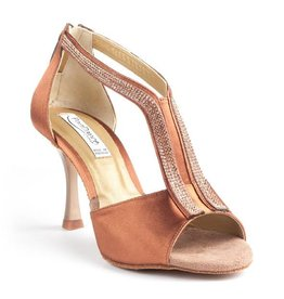 Portdance PD806-Ballroom Shoes 3.2'' Suede Sole Satin-BRONZE