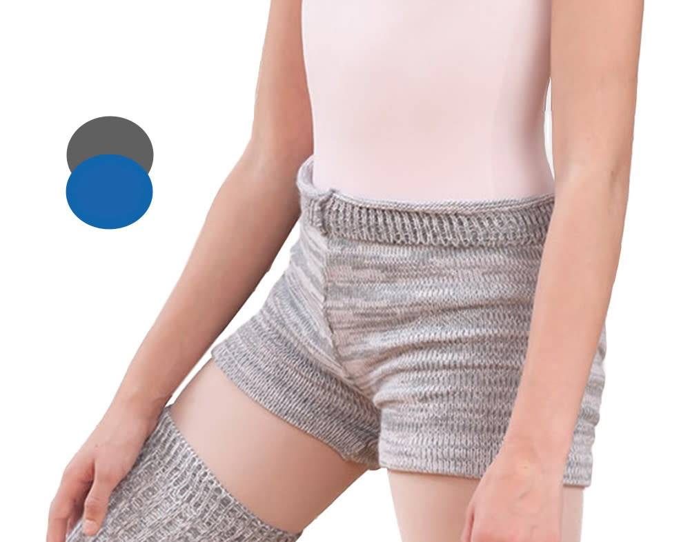 Intermezzo 5193-Knitted Shorts With Roll Over Waist Band-GREY/SEE BLUE