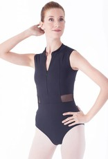 Intermezzo 31468-Zip Front Leotard With Mesh Insert Print