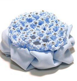 FH2 AZ0033-1-Jeweled Bun Cover With Clip-Blue