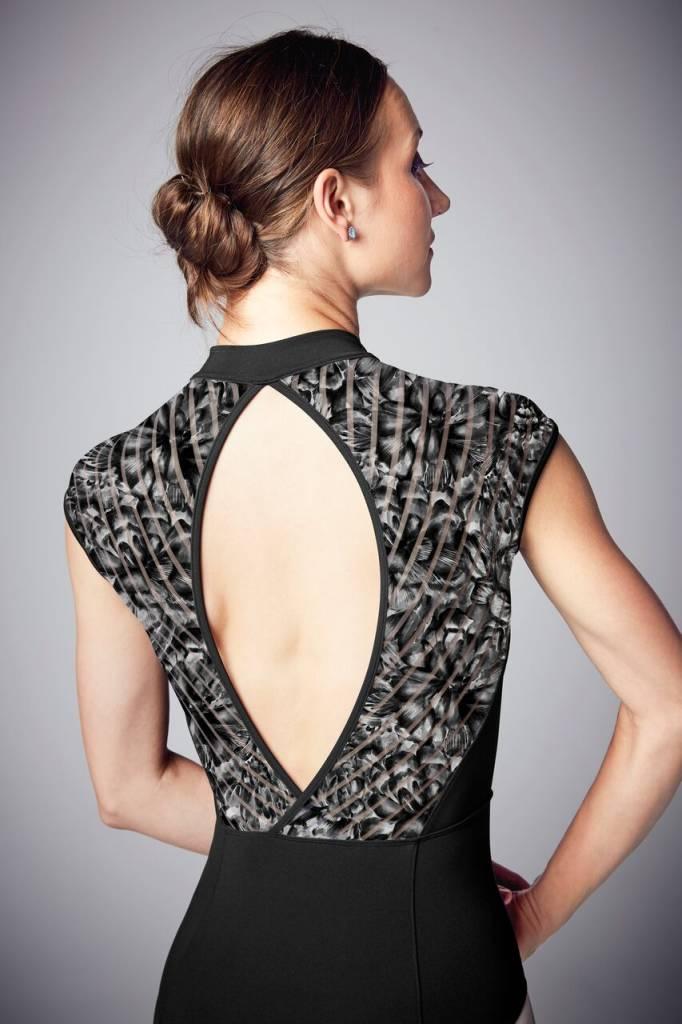 Bloch L9942-Carolein Zipper Front Printed Stripe mesh Cap Sleeve leotard-BLACK/LILY