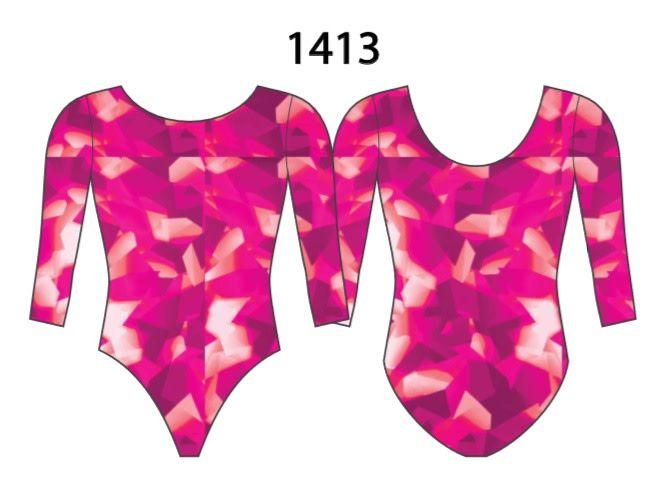 MotionWear 1413-253-3/4 Sleeve Leotard-COSMIC CORAL