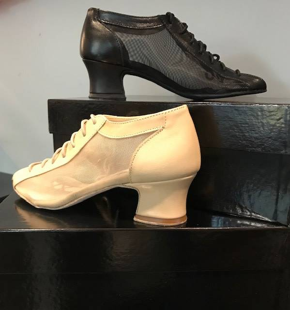 "Anatomica 900-BARBARA-Ballroom Shoes cuban heel 1.5"" Leather/Mesh Suede Sole"