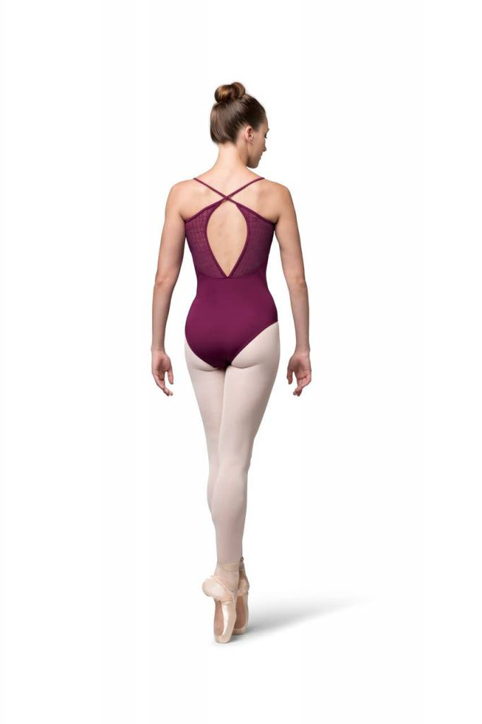 Bloch L9897-Cora Check Mesh Cross Back Cami Leotard-AFRICAN VIOLET