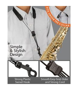 "Protec Protec Saxophone Standard Neck Strap 22"" Tall with Plastic Snap Black"