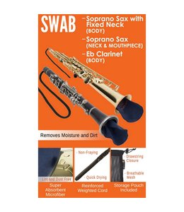 Protec Protec Swab: Soprano Sax with Fixed Neck (Body), Soprano Sax (Neck & Mouthpiece), Eb Clarinet (Body)