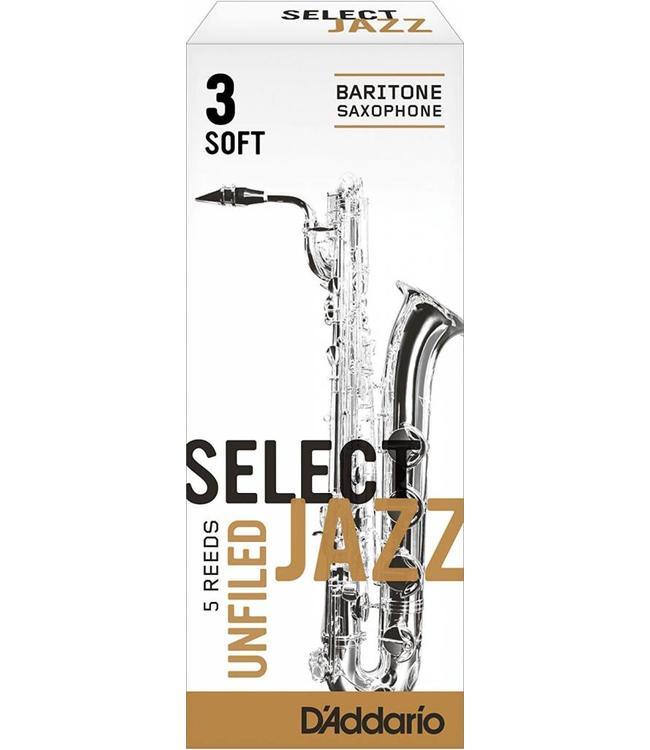 D'Addario D'Addario Select Jazz Unfiled Baritone Sax Reeds, Box of 5