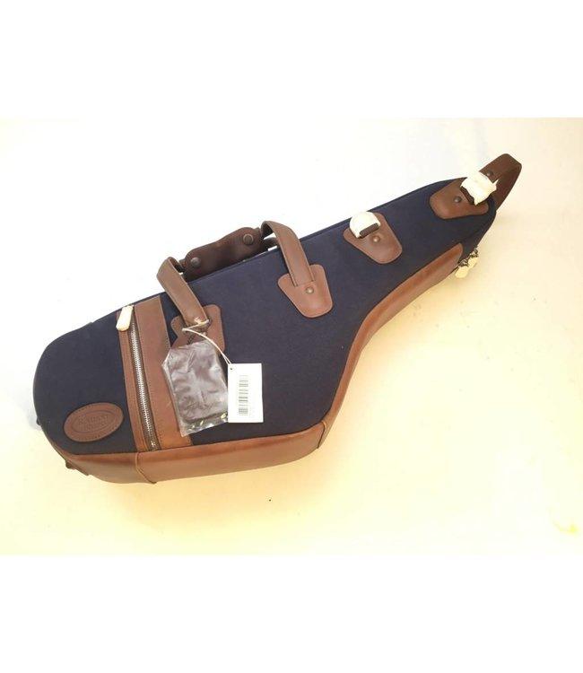 Reunion Blues Used Reunion Blues Alto Sax Bag w/flat zip pocket - Fabric with brown leather trim
