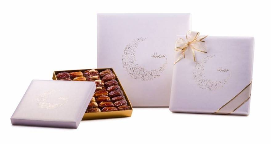 Bateel USA Eid Mubarak Gold Crescent Gift Box with Gourmet Dates