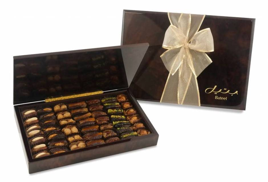 Bateel USA Dark Marbled Wood Gift Box with Gourmet Dates