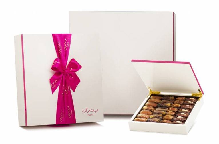 Bateel USA White and Pink Wood Gift Box