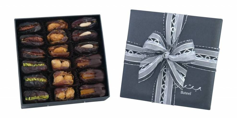 Bateel USA Onyx Ballotine Gift Box with Gourmet Dates, 2 Layers