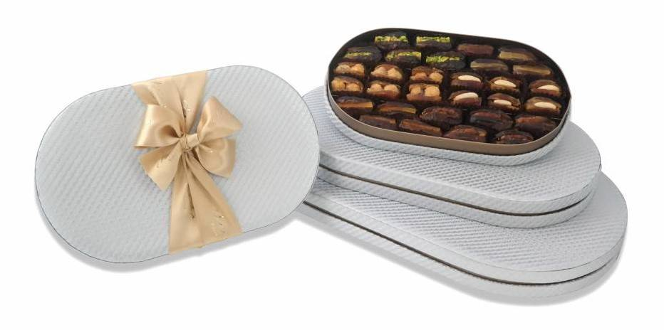 Bateel USA Silver Oval Gift Box with Gourmet Dates