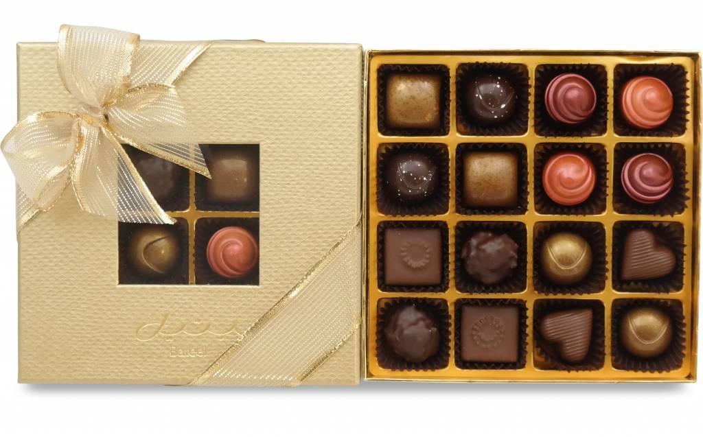 Bateel USA Origin Chocolates Gold Window Gift Box Assortment 4 (16 Pieces)