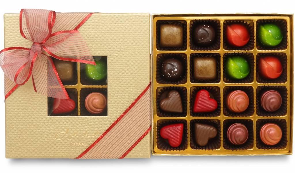 Bateel USA Origin Chocolates Gold Window Gift Box Assortment 2 (16 Pieces)