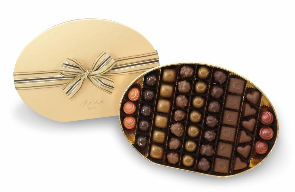 Bateel USA Origin Chocolates Gold Oval Gift Box Assortment 1 (50 Pieces)