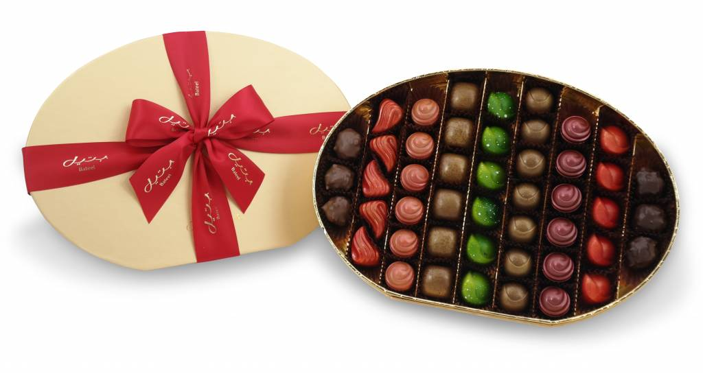 Bateel USA Origin Chocolates Gold Oval Gift Box Assortment 2 (48 Pieces)