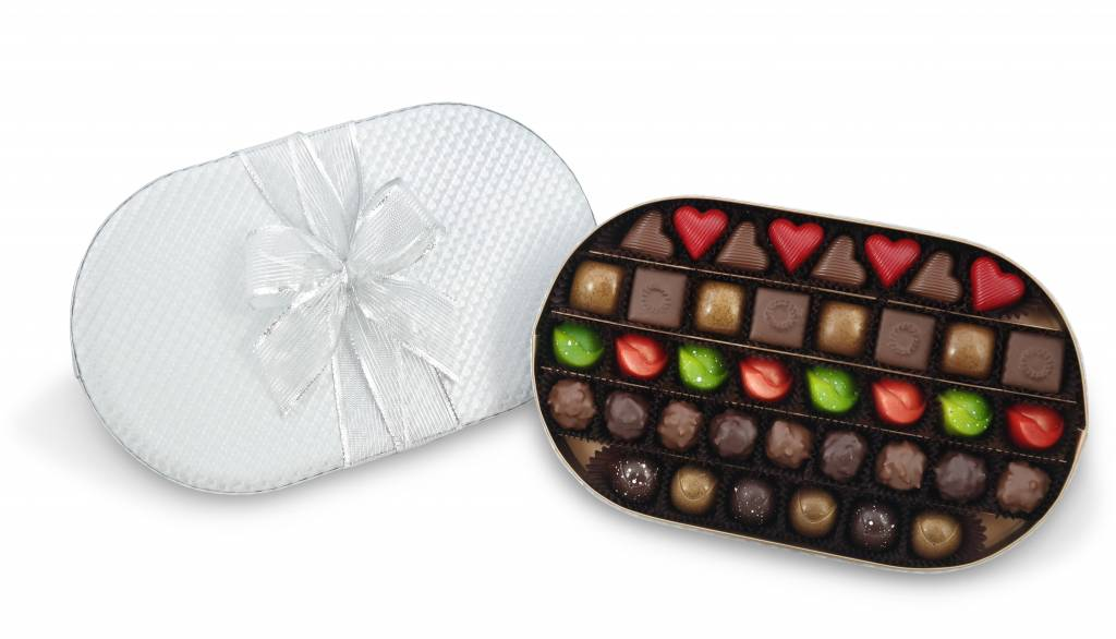 Bateel USA Origin Chocolates Silver Oval Gift Box Assortment (39 Pieces)