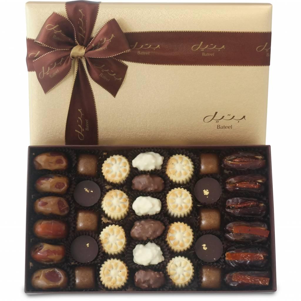 Bateel USA Assortment of Bateel Sweets in Cassandra Rectangle Gift Box (36 Pieces)