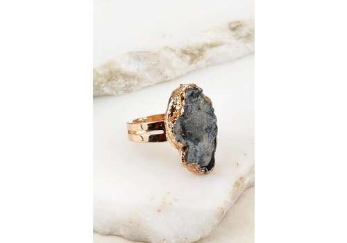 Electroplated Sand Druzy Stone Adjustable Rings-3 Colors