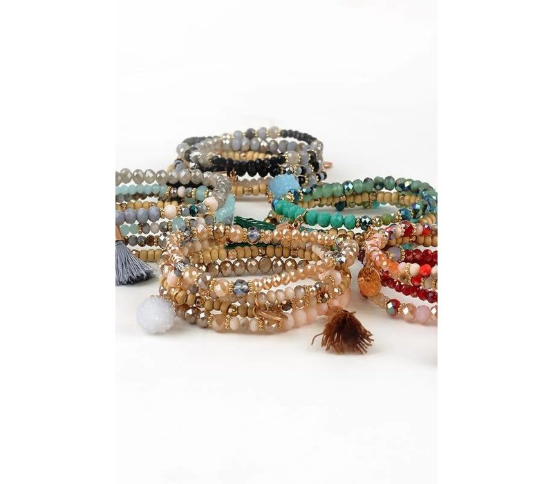 Druzy Charm Bracelet Stacks 5 Colors