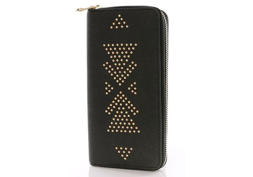 Aztec Studded Wallets- Black & Chestnut-
