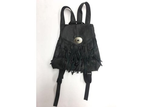 100% Genuine Leather Fringe BackPack Purse- Black and Brown