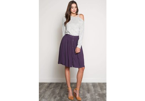Button Down A-line Skirt in 2 Colors