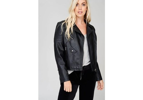 Vegan Leather Biker Jacket in Black