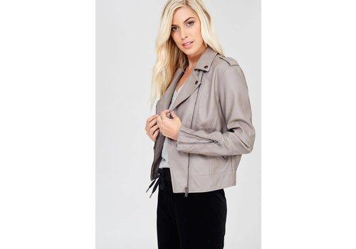 "Vegan Leather Jacket in ""Stone"""