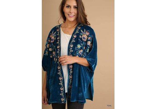 Teal Embroidered Crushed Velvet Kimono