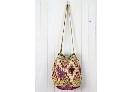 Mustard & Fuschia Bohemian Bucket Beach Bag