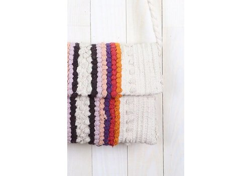 Hand Loomed Stripe Pom Pom Cali Crossbody Bag