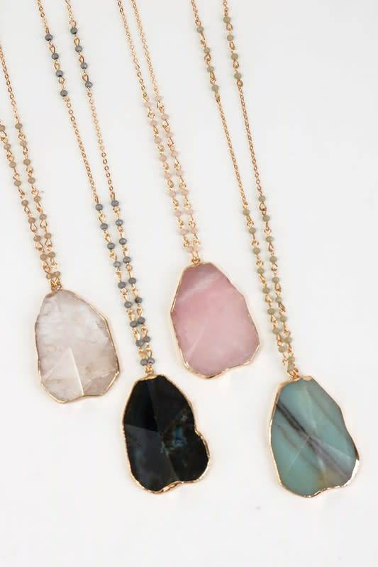 Electroplated raw natural stone pendant necklaces 4 color choices electroplated raw natural stone pendant necklaces 4 color choices aloadofball Image collections