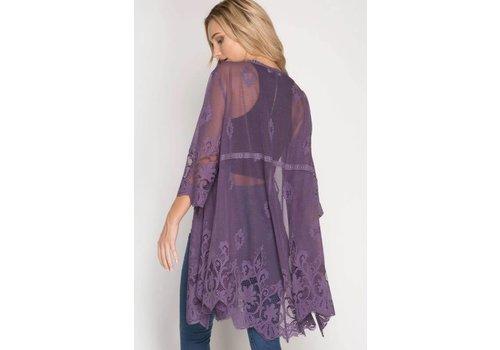 Lace Kimonos in Dusty Purple & Cream