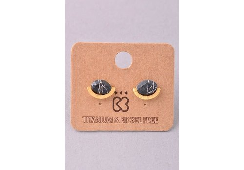 Natural Oval Stone & Gold Bar Earrings in 4 Colors