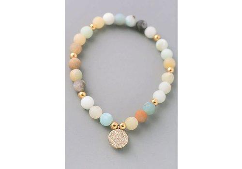 Mint Natural Stone Bracelets- Disc or Hamsa-