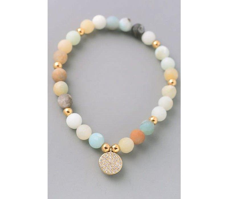 Mint Natural Stone Bracelets Disc Or Hamsa