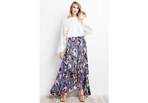 Garden Goddess Floral Hi Low Maxi Skirt in 3 Colors
