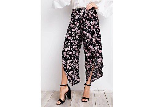 Black & Floral Tulip Pants