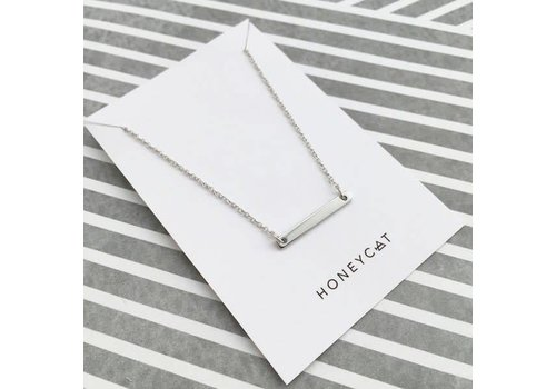 Rhodium Plated Classic Bar Necklace
