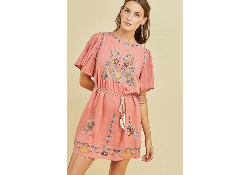 Embroidered Shift Dress in Salmon