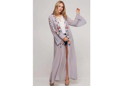 Gray Floral Embroidered Duster Kimono